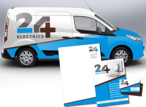 Logo, stationery and vehicle livery for 24 Electrics