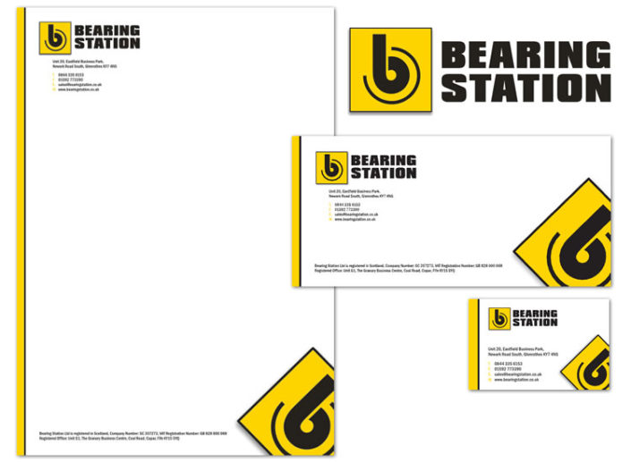 Logo and stationery for Fife-based bearings supplier Bearing Station