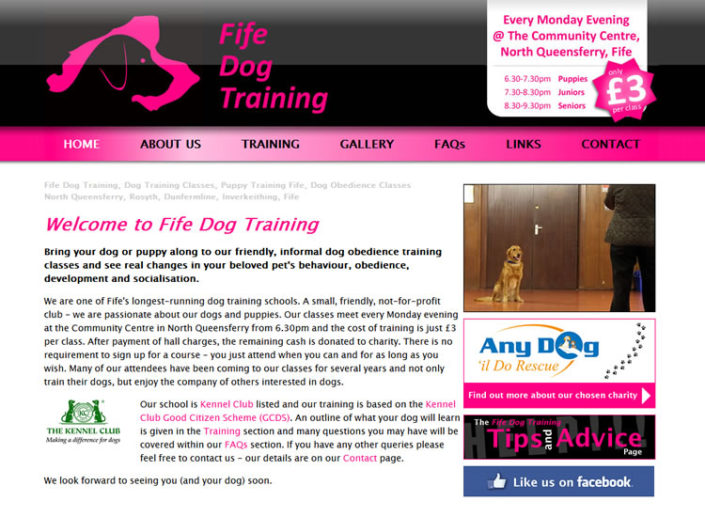 Logo, branding and website for Fife Dog Training