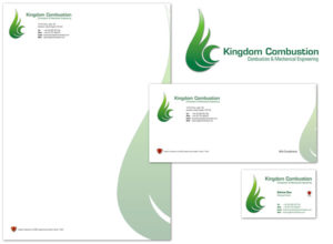 Logo and stationery for Kingdom Combustion, Fife-based combustion and mechanical engineers