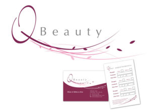 Logo and business cards for Fife beauticians Q Beauty