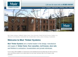 Website for Muir Timber Systems, bespoke home builders