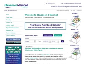 Website for Stevenson & Marshall, solicitors and estate agents